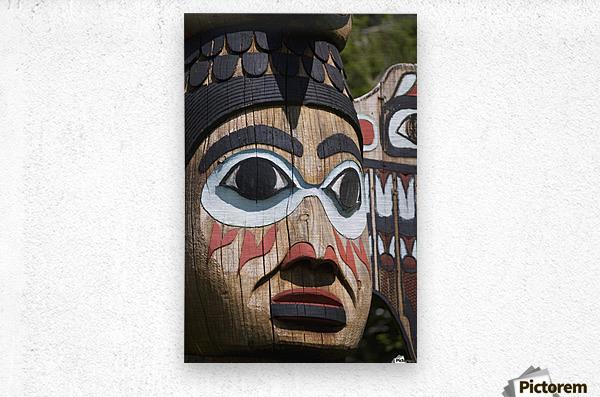 Detail of a figure carved into a Totem Pole, Totem Bight State Historical Park, Ketchikan, Southeast Alaska, USA, Spring  Metal print