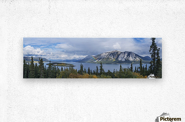 Fall showers create a rainbow over Tagish Lake, Bove Island, along the Klondike Highway, Yukon Territory, Canada  Metal print