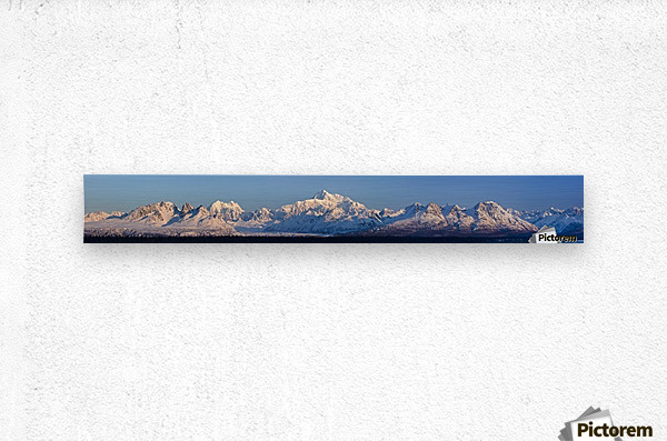 Panoramic view of sunrise over Denali and the Alaska Range, Denali State Park, Southcentral Alaska, Winter  Metal print