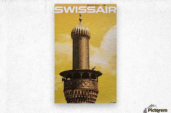 Swissair poster for Middle East  Impression metal