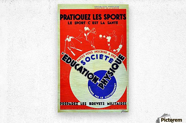 Original 1932 Art Deco Sport Poster  Metal print