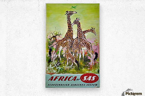 Scandinavian Airlines Africa by SAS original advertising poster  Metal print