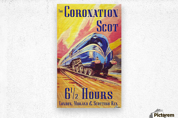 The Coronation Scot travel poster  Metal print