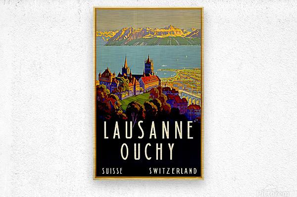 Lausanne Switzerland Travel Poster  Metal print