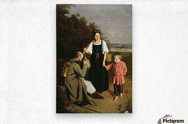 Peasant offering to a soldier a drink  Metal print