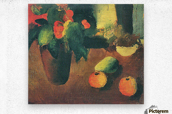 Still Life with begonia, apples and pear by August Macke  Metal print