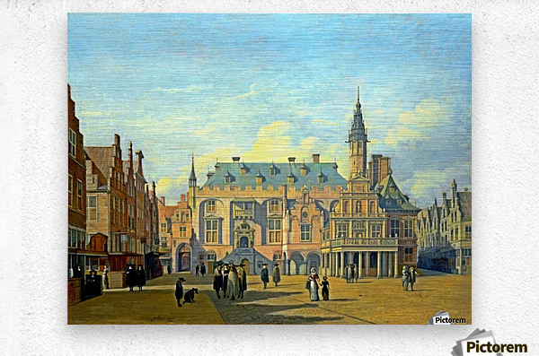 The Market Place and Town Hall Haarlem  Metal print