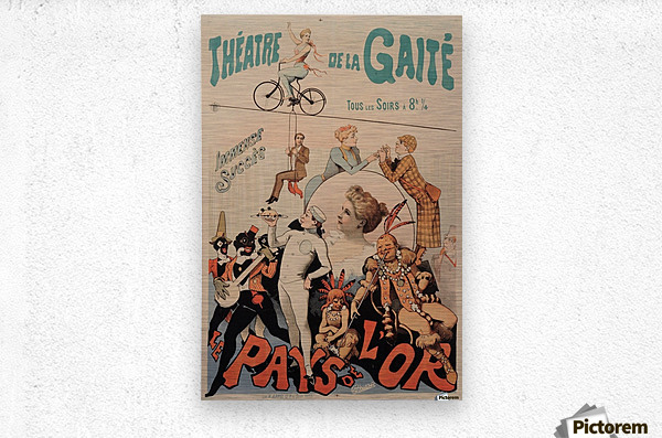 Original Vintage French Poster for Theatre de la Gaite  Metal print