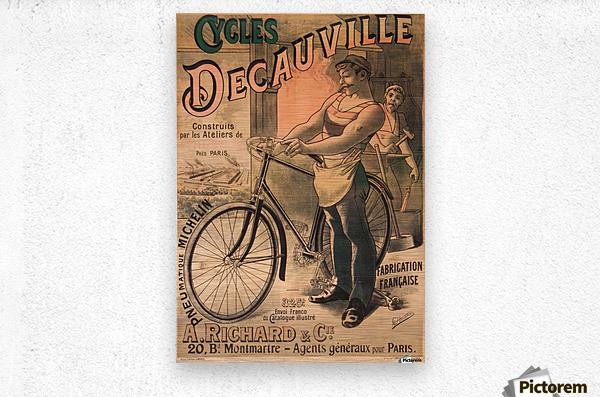 Cycles DeCauville vintage poster  Metal print