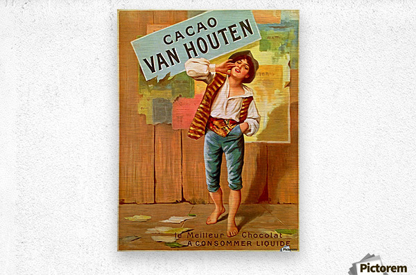 French Art Nouveau Period Poster for Cacao Van Houten  Metal print
