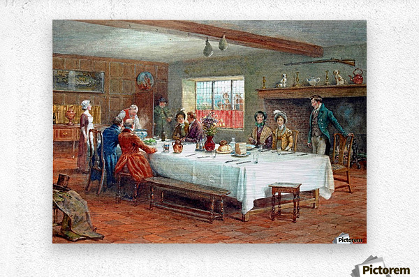 A meal stop at a coaching inn  Metal print