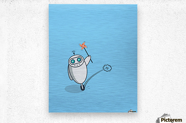 PLayful Robot  Metal print