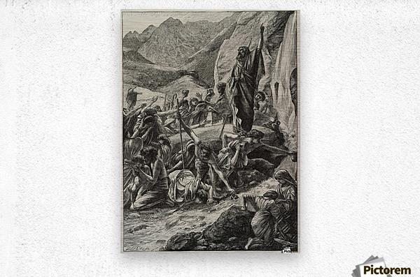 Moses strikes the rock  Metal print