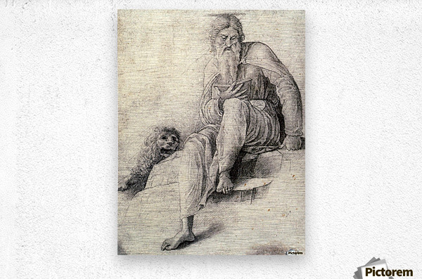 Saint Jerome Reading with the Lion  Metal print