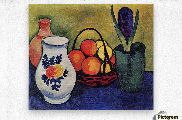 White jug with flowers and fruits by August Macke  Metal print