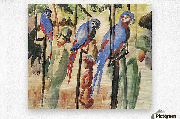 With the Parrots I by August Macke  Metal print