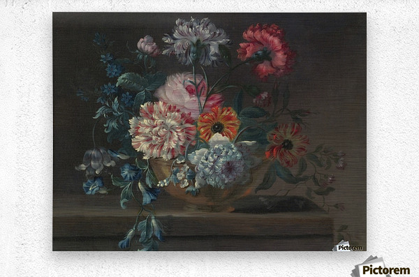 Still life of variegated carnations and other flowers on a ledge  Metal print