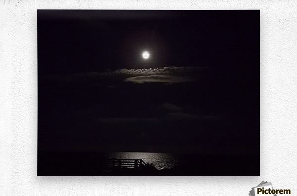 Moon over Docks and Pier  Metal print