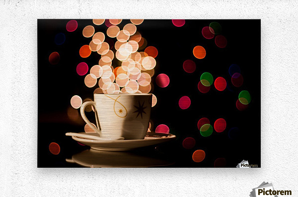 Christmas background with cup of tea  Metal print