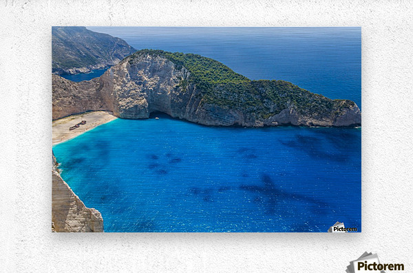 Navagio beach with shipwreck on Zakynthos island in Greece  Metal print