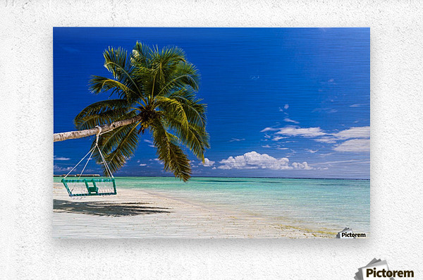 Untouched tropical beach in Maldives  Metal print