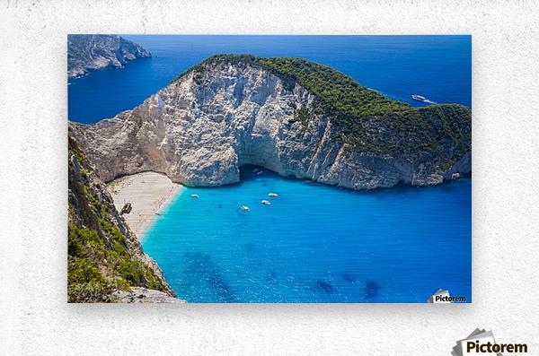 Amazing Navagio Beach in Zakynthos Island, Greece  Metal print