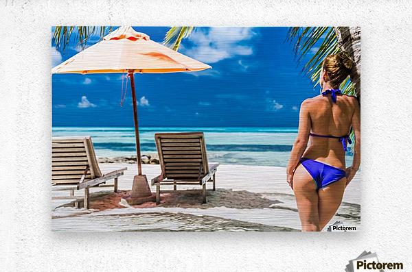 woman in bikini under palm on sea background  Metal print