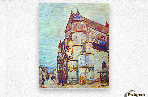 Church of Moret, After the Rain by Sisley  Metal print