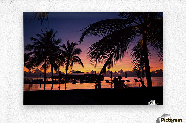 Silhouette coconut palm trees on beach at sunset. Vintage tone  Metal print