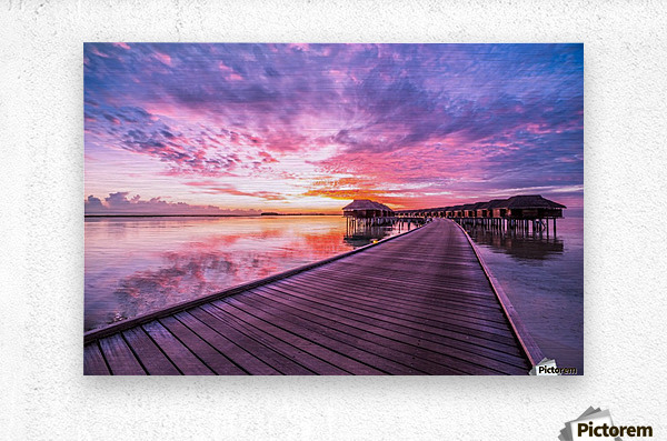 Amazing tropical sunset beach, luxury overwater bungalow  Metal print