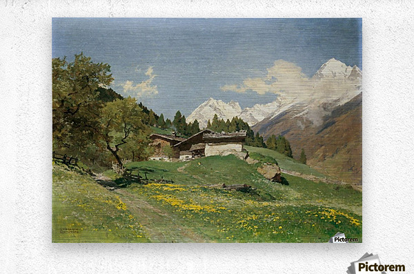 Rural house at the base of Alps  Metal print