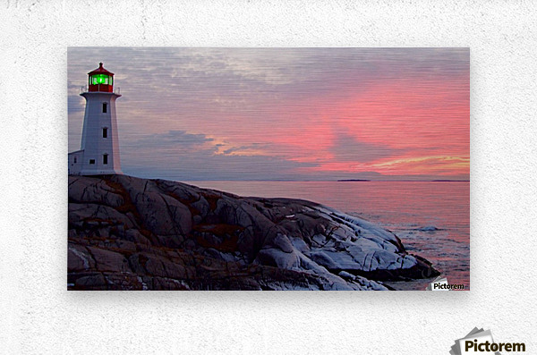 Peggys Cove Winter Sunset  Metal print