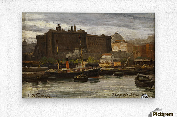 In the port of Naples  Metal print