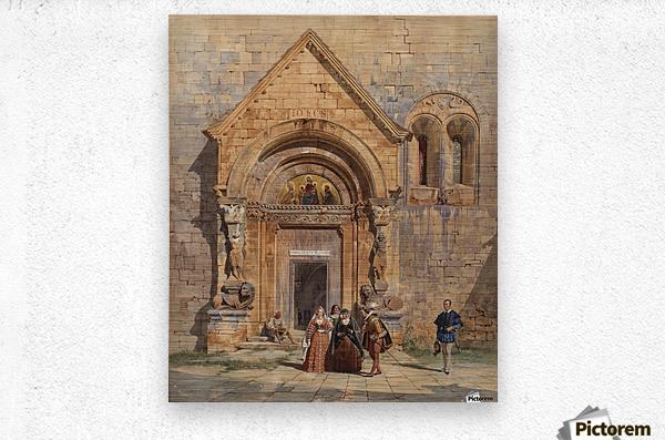 Kirchenportal und Personengruppe 1842  Metal print