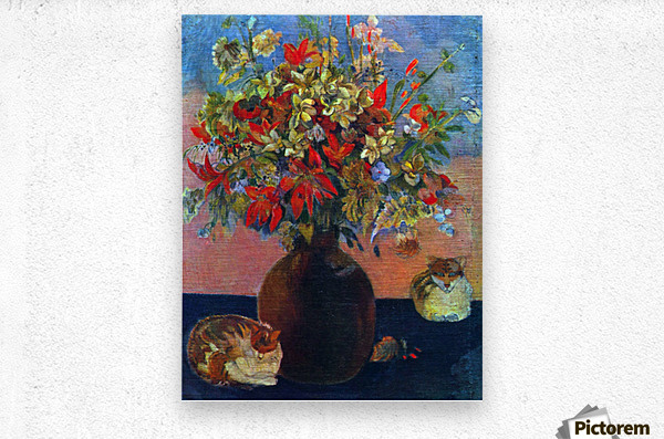 Flowers and Cats by Gauguin  Metal print