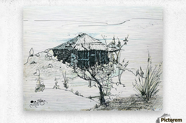 Hut on hill  Metal print