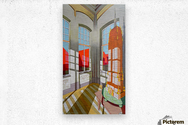 abandoned room with the empire state building  Metal print