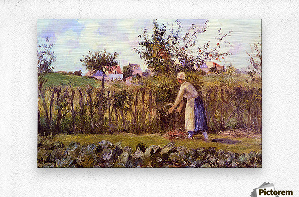 In the Orchard by Pissarro  Metal print