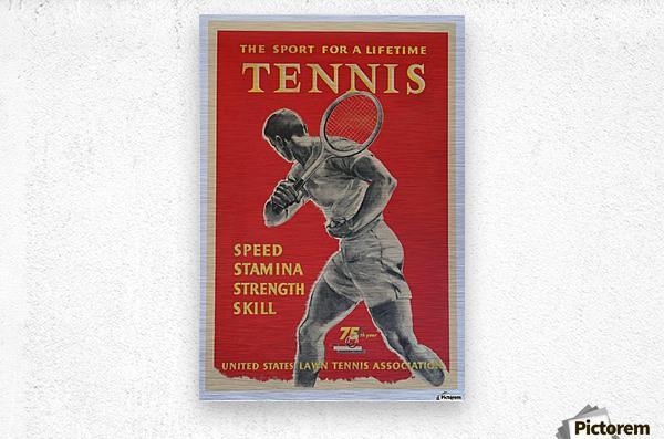 United States Lawn Vintage Tennis Poster in 1956  Metal print