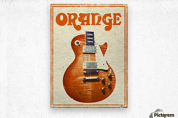 Orange vintage advertising poster  Metal print