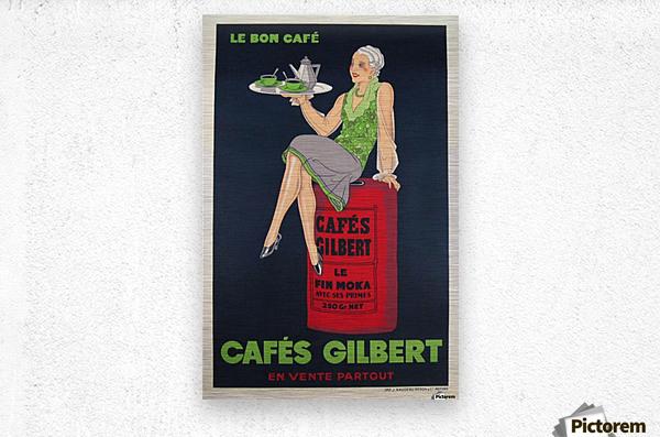 Cafes Gilbert original vintage food poster from France  Metal print