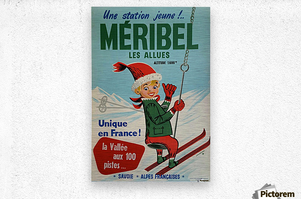 Original vintage poster ski winter sport Meribel  Metal print