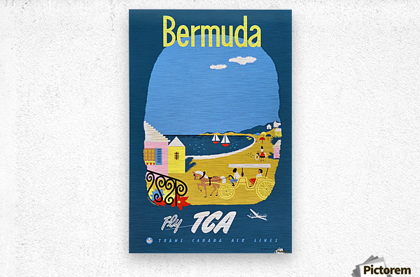 Bermuda Travel Poster for Fly Trans Canada Airline  Metal print