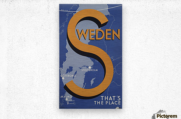 Stockholm Goteborg Malmo Sweden Thats the place vintage poster  Metal print