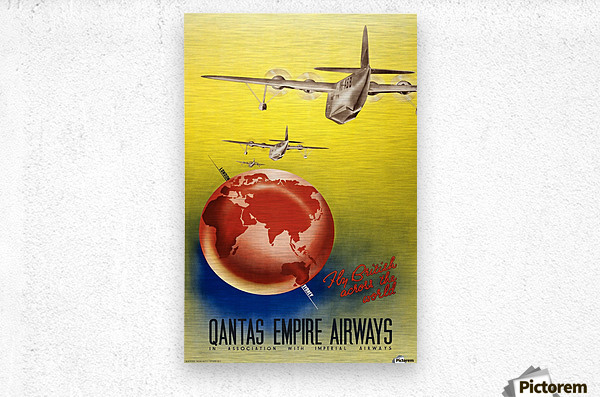 Qantas Empire Airways travel poster 1938  Metal print