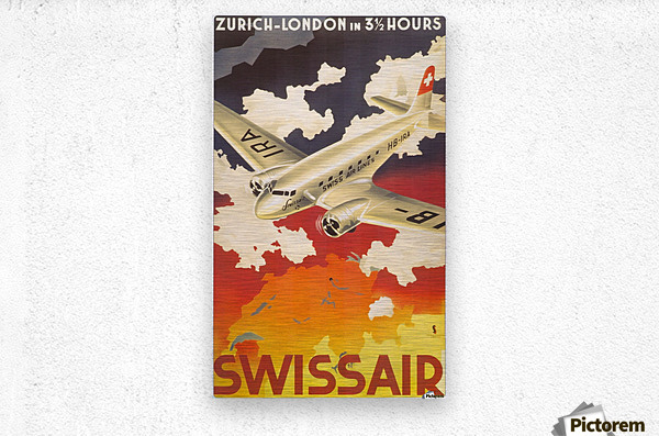 Zurich - London travel poster for Swissair  Metal print