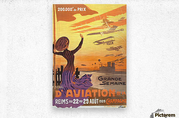Reims France Aviation Poster Week August 22-29, 1909  Metal print