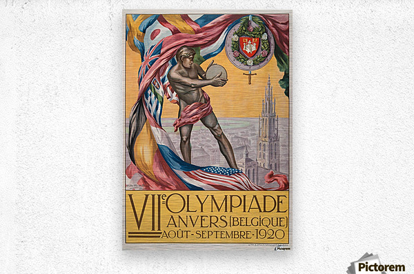 VII Olympiade, Anvers lithographic poster  Metal print