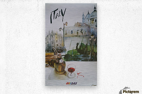 Italy Travel Poster by SAS  Metal print