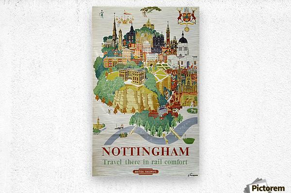 Nottingham vintage travel poster for British Railways  Metal print
